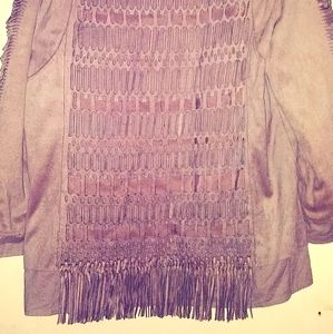 Chicos brand lightweight fringe jacket